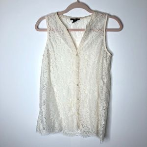 H&M button front lace sleeveless top
